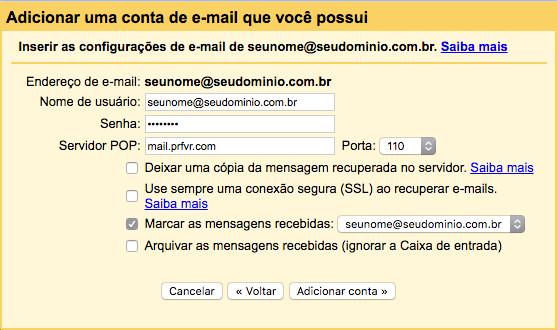 Exemplo de configuração para Receber email de outras contas